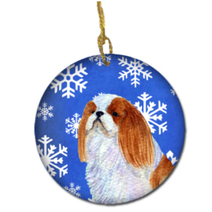 English Toy Spaniel Winter Snowflakes Holiday Christmas Ceramic Ornament SS4645