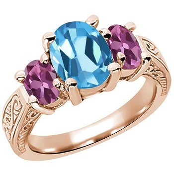Product Image: 3.20 Ct Oval Swiss Blue Topaz Pink Tourmaline 14K Rose Gold 3-Stone Ring