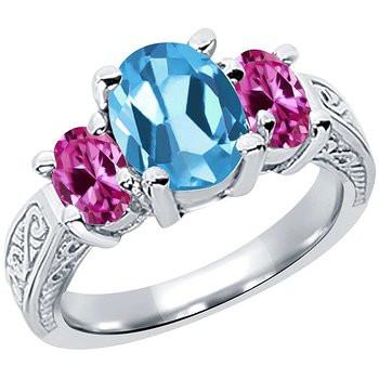 Product Image: 3.40 Ct Oval Swiss Blue Topaz Pink Created Sapphire 14K White Gold 3-Stone Ring