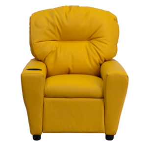 Contemporary Yellow Vinyl Kids Recliner with Cup Holder BT-7950-KID-YEL-GG