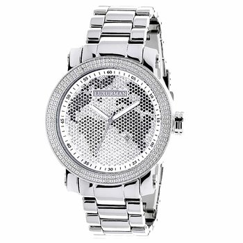 Mens Diamond Watch 0.12 Ct Luxurman Black White Map
