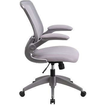 Product Image: Mid-Back Gray Mesh Swivel Task Chair with Gray Frame and Flip-Up Arms