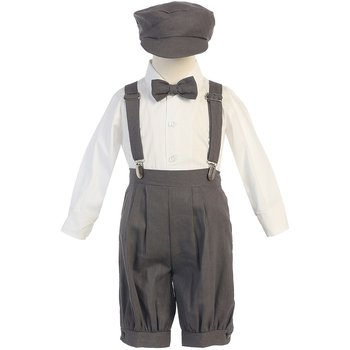 Product Image: Lito Baby Boys Charcoal Suspenders Short Pants Hat Easter Outfit Set 3-24M